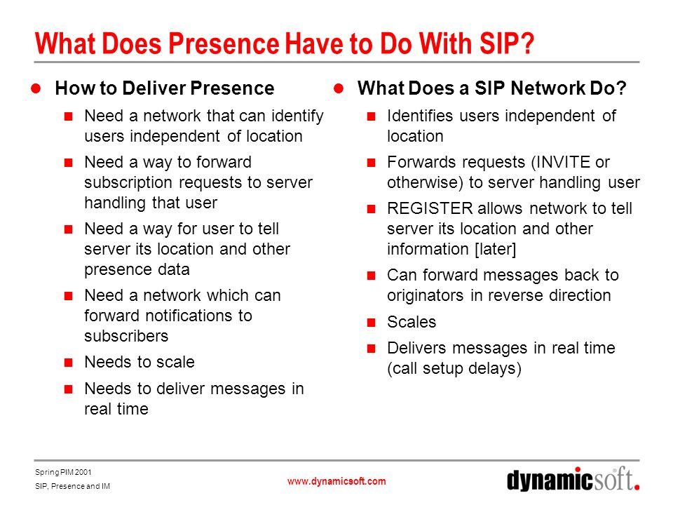 www.dynamicsoft.com Spring PIM 2001 SIP, Presence and IM SIP Already Provides Publication Capability REGISTER is a Publication Message for Locations Allows for SIP and Other URL Types Multiple Entities Can Publish for the Same Address SIP Caller Preferences Extension Allows for Attributes for Locations Mobile, landline Home, business Preferences Audio, video - MIME capability Registrar