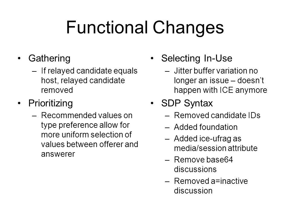 Functional Changes Gathering –If relayed candidate equals host, relayed candidate removed Prioritizing –Recommended values on type preference allow fo