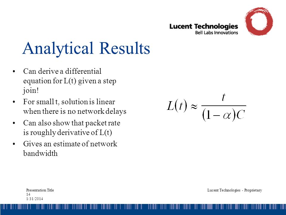 Presentation Title 14 1/31/2014 Lucent Technologies - Proprietary Analytical Results Can derive a differential equation for L(t) given a step join.