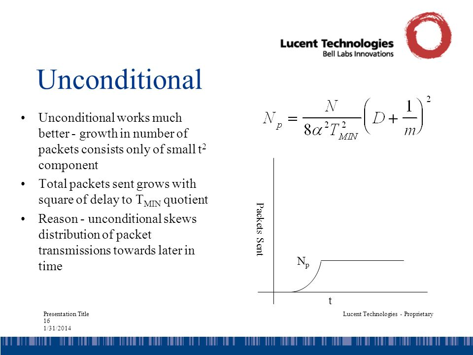 Presentation Title 16 1/31/2014 Lucent Technologies - Proprietary Unconditional Unconditional works much better - growth in number of packets consists only of small t 2 component Total packets sent grows with square of delay to T MIN quotient Reason - unconditional skews distribution of packet transmissions towards later in time t Packets Sent NpNp