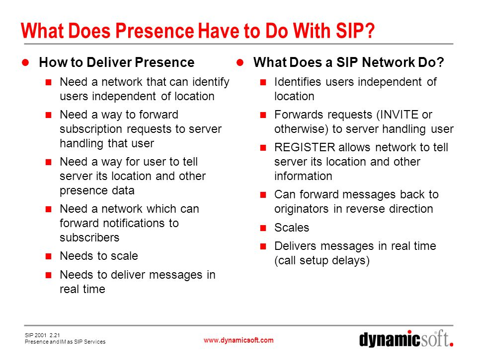 www.dynamicsoft.com SIP 2001 2.21 Presence and IM as SIP Services What Does Presence Have to Do With SIP.