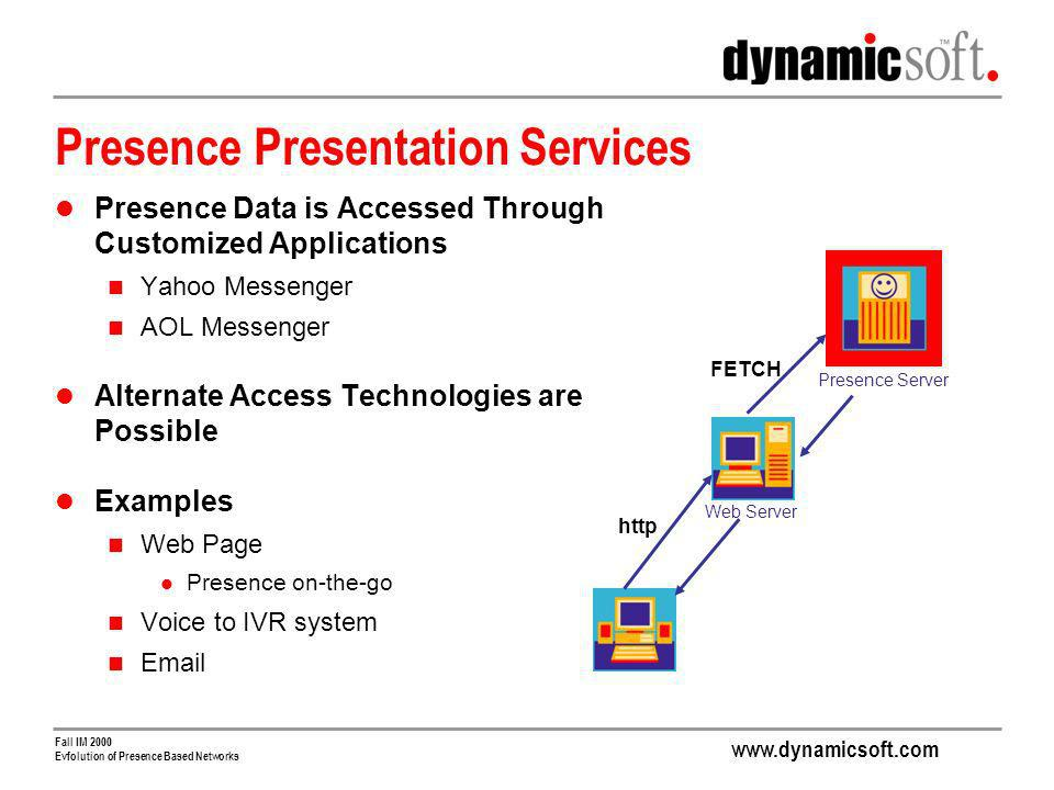 www.dynamicsoft.com Fall IM 2000 Evfolution of Presence Based Networks Presence Presentation Services Presence Data is Accessed Through Customized Applications Yahoo Messenger AOL Messenger Alternate Access Technologies are Possible Examples Web Page Presence on-the-go Voice to IVR system Email http Presence Server Web Server FETCH