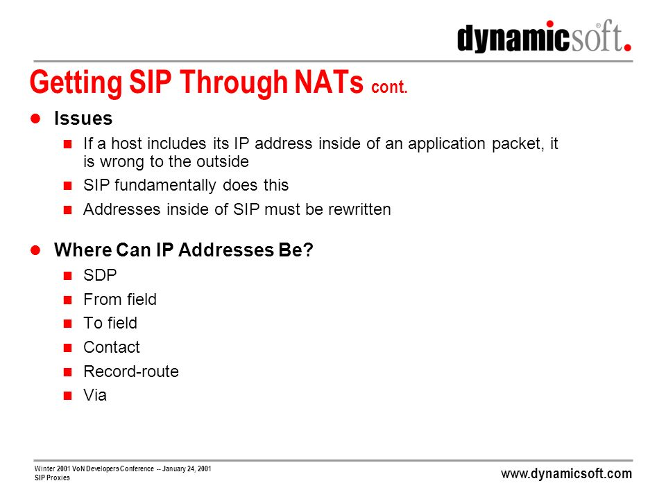www.dynamicsoft.com Winter 2001 VoN Developers Conference -- January 24, 2001 SIP Proxies Getting SIP Through NATs cont. Issues If a host includes its