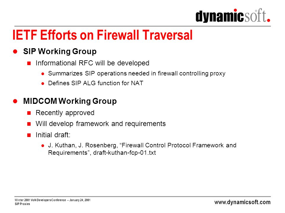 www.dynamicsoft.com Winter 2001 VoN Developers Conference -- January 24, 2001 SIP Proxies IETF Efforts on Firewall Traversal SIP Working Group Informa
