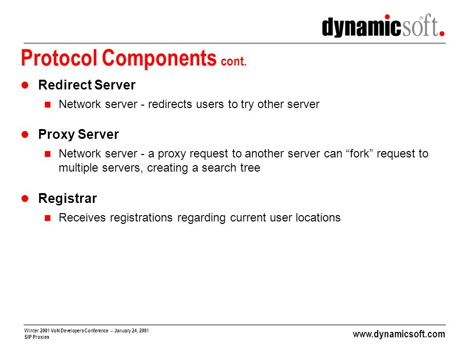 www.dynamicsoft.com Winter 2001 VoN Developers Conference -- January 24, 2001 SIP Proxies Getting SIP Through NATs cont.