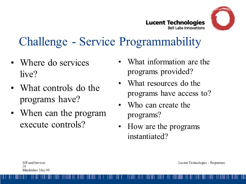 SIP and Services 26 Blindsiders May 99 Lucent Technologies - Proprietary Challenge - Service Programmability Where do services live.