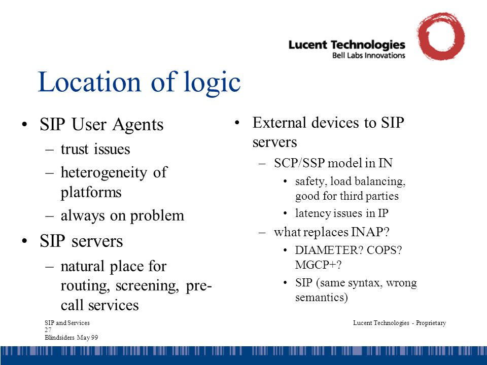 SIP and Services 27 Blindsiders May 99 Lucent Technologies - Proprietary Location of logic SIP User Agents –trust issues –heterogeneity of platforms –always on problem SIP servers –natural place for routing, screening, pre- call services External devices to SIP servers –SCP/SSP model in IN safety, load balancing, good for third parties latency issues in IP –what replaces INAP.