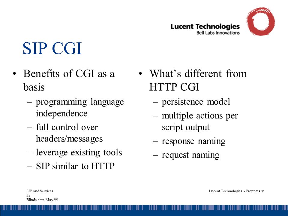 SIP and Services 32 Blindsiders May 99 Lucent Technologies - Proprietary SIP CGI Benefits of CGI as a basis –programming language independence –full control over headers/messages –leverage existing tools –SIP similar to HTTP Whats different from HTTP CGI –persistence model –multiple actions per script output –response naming –request naming