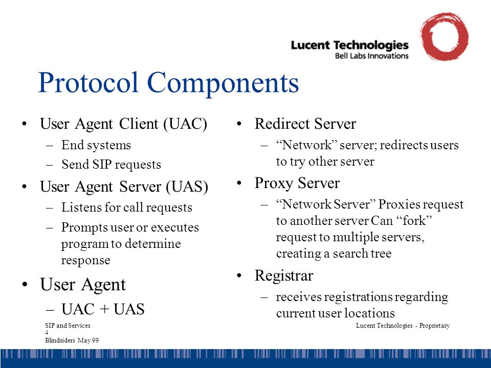 SIP and Services 4 Blindsiders May 99 Lucent Technologies - Proprietary Protocol Components User Agent Client (UAC) –End systems –Send SIP requests User Agent Server (UAS) –Listens for call requests –Prompts user or executes program to determine response User Agent –UAC + UAS Redirect Server –Network server; redirects users to try other server Proxy Server –Network Server Proxies request to another server Can fork request to multiple servers, creating a search tree Registrar –receives registrations regarding current user locations
