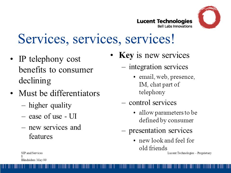 SIP and Services 29 Blindsiders May 99 Lucent Technologies - Proprietary Who can write them.