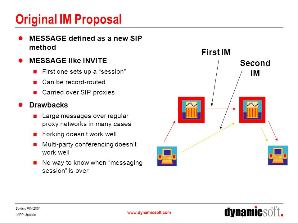 www.dynamicsoft.com Spring PIM 2001 IMPP Update Original IM Proposal MESSAGE defined as a new SIP method MESSAGE like INVITE First one sets up a session Can be record-routed Carried over SIP proxies Drawbacks Large messages over regular proxy networks in many cases Forking doesnt work well Multi-party conferencing doesnt work well No way to know when messaging session is over First IM Second IM