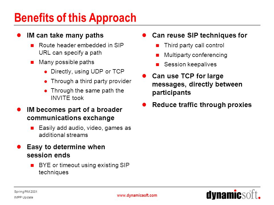 www.dynamicsoft.com Spring PIM 2001 IMPP Update Benefits of this Approach IM can take many paths Route header embedded in SIP URL can specify a path Many possible paths Directly, using UDP or TCP Through a third party provider Through the same path the INVITE took IM becomes part of a broader communications exchange Easily add audio, video, games as additional streams Easy to determine when session ends BYE or timeout using existing SIP techniques Can reuse SIP techniques for Third party call control Multiparty conferencing Session keepalives Can use TCP for large messages, directly between participants Reduce traffic through proxies