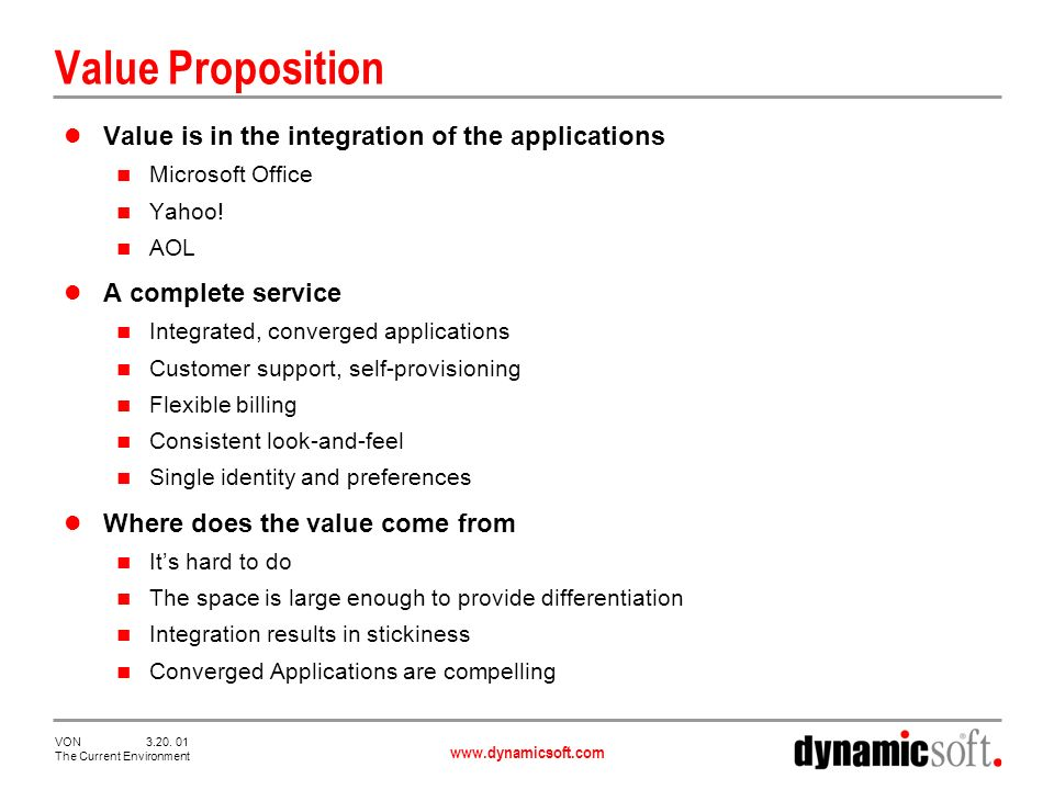 www.dynamicsoft.com VON 3.20. 01 The Current Environment Value Proposition Value is in the integration of the applications Microsoft Office Yahoo! AOL