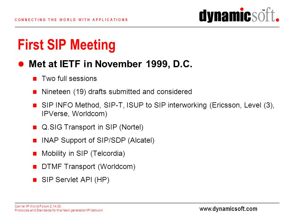 Carrier IP World Forum Protocols and Standards for the Next-generation IP Network C O N N E C T I N G T H E W O R L D W I T H A P P L I C A T I O N S First SIP Meeting Met at IETF in November 1999, D.C.