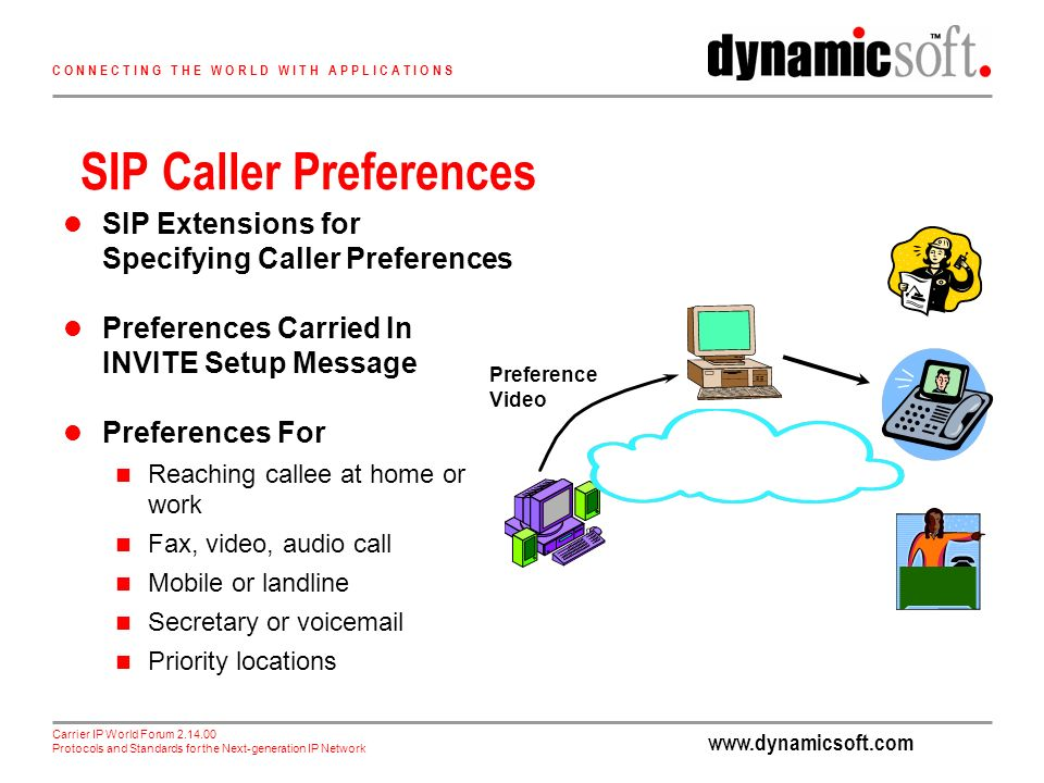 Carrier IP World Forum Protocols and Standards for the Next-generation IP Network C O N N E C T I N G T H E W O R L D W I T H A P P L I C A T I O N S SIP Caller Preferences SIP Extensions for Specifying Caller Preferences Preferences Carried In INVITE Setup Message Preferences For Reaching callee at home or work Fax, video, audio call Mobile or landline Secretary or voic Priority locations Preference Video