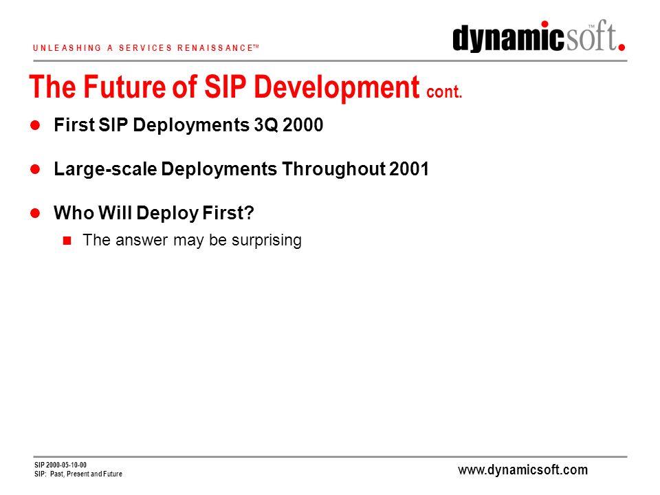 www.dynamicsoft.com U N L E A S H I N G A S E R V I C E S R E N A I S S A N C E SIP 2000-05-10-00 SIP: Past, Present and Future The Future of SIP Development cont.