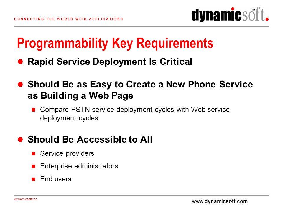 www.dynamicsoft.com dynamicsoft Inc. C O N N E C T I N G T H E W O R L D W I T H A P P L I C A T I O N S Programmability Key Requirements Rapid Servic
