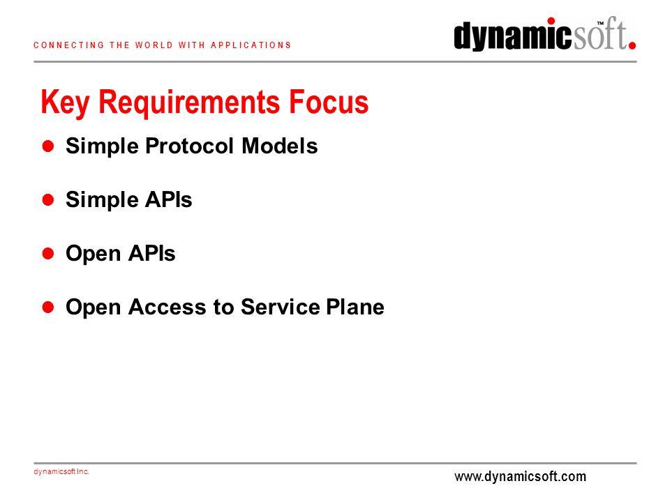 www.dynamicsoft.com dynamicsoft Inc. C O N N E C T I N G T H E W O R L D W I T H A P P L I C A T I O N S Key Requirements Focus Simple Protocol Models