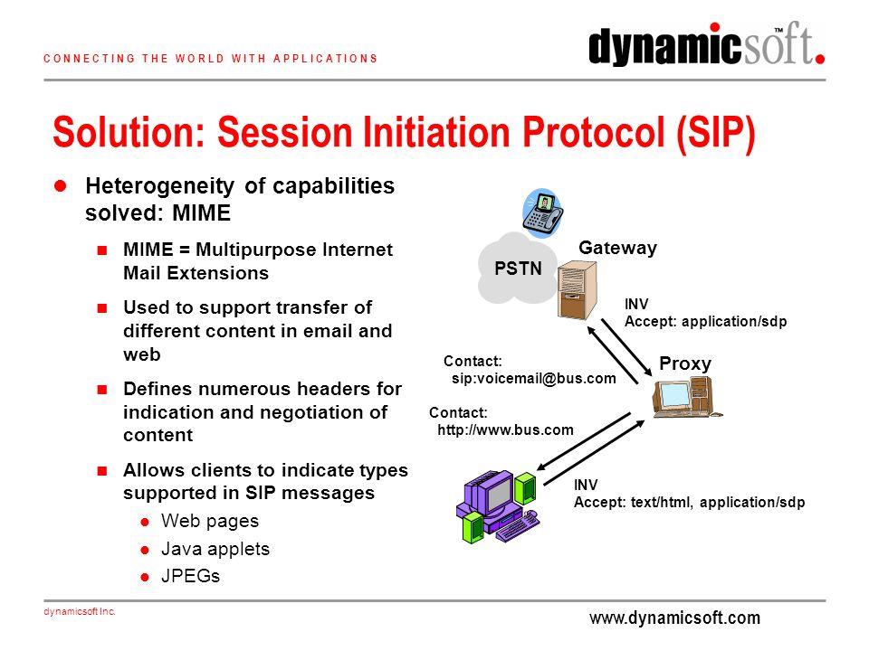www.dynamicsoft.com dynamicsoft Inc. C O N N E C T I N G T H E W O R L D W I T H A P P L I C A T I O N S Solution: Session Initiation Protocol (SIP) H