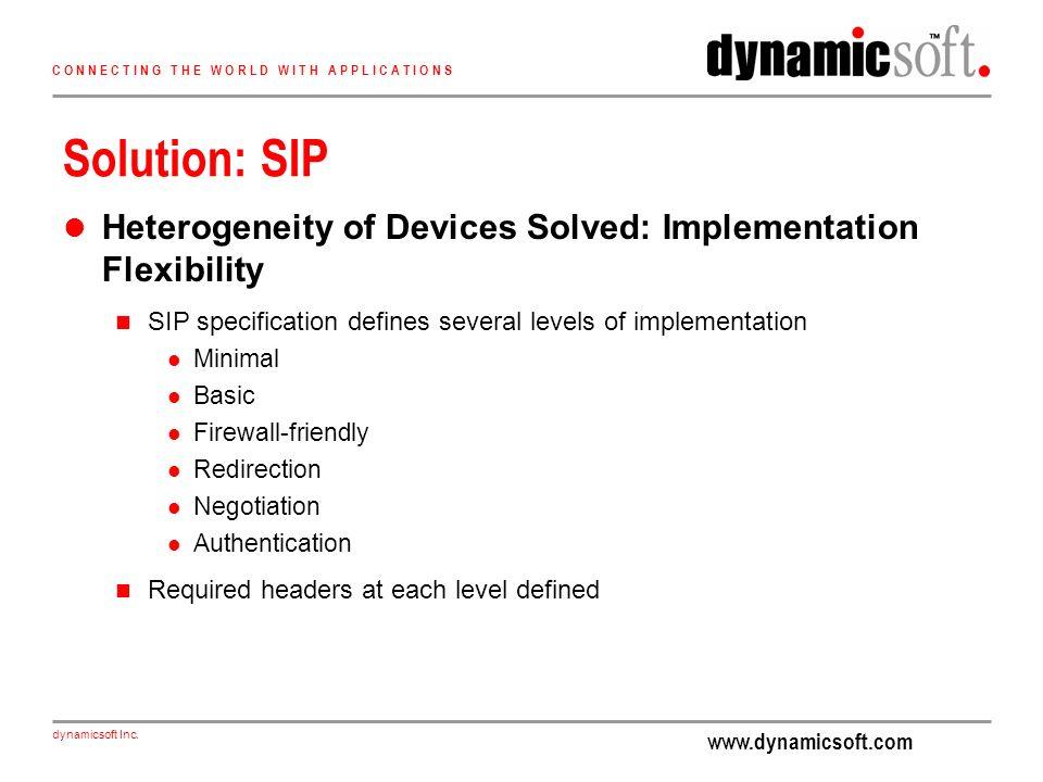 www.dynamicsoft.com dynamicsoft Inc. C O N N E C T I N G T H E W O R L D W I T H A P P L I C A T I O N S Solution: SIP Heterogeneity of Devices Solved