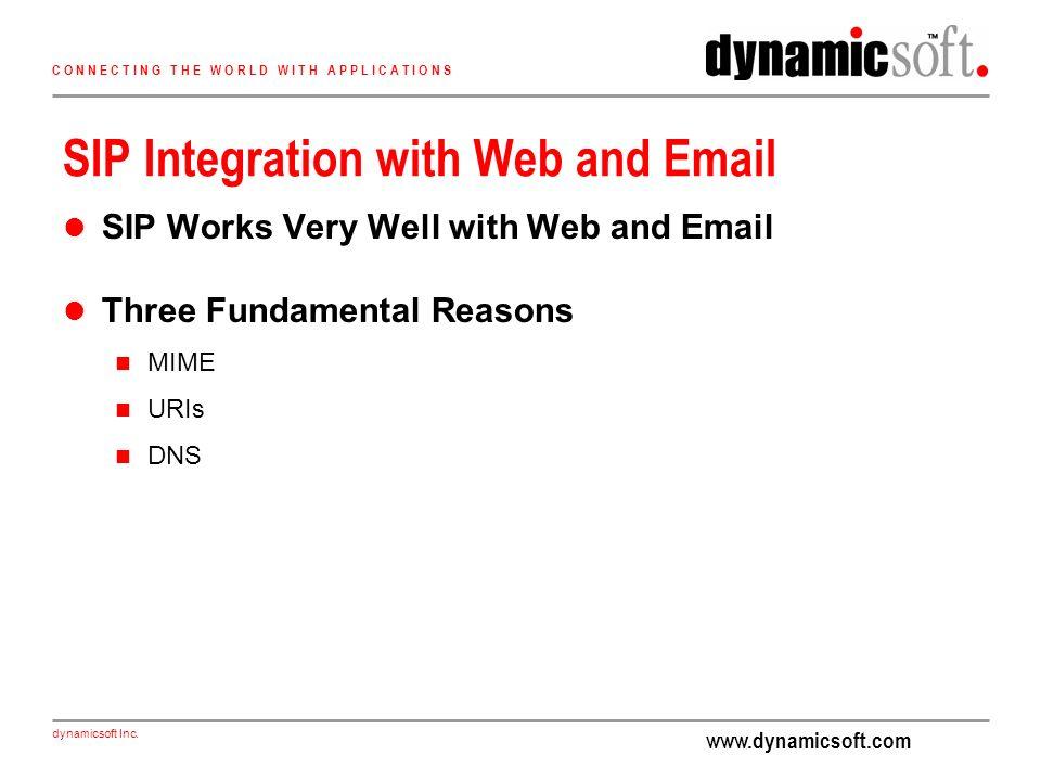 www.dynamicsoft.com dynamicsoft Inc. C O N N E C T I N G T H E W O R L D W I T H A P P L I C A T I O N S SIP Integration with Web and Email SIP Works