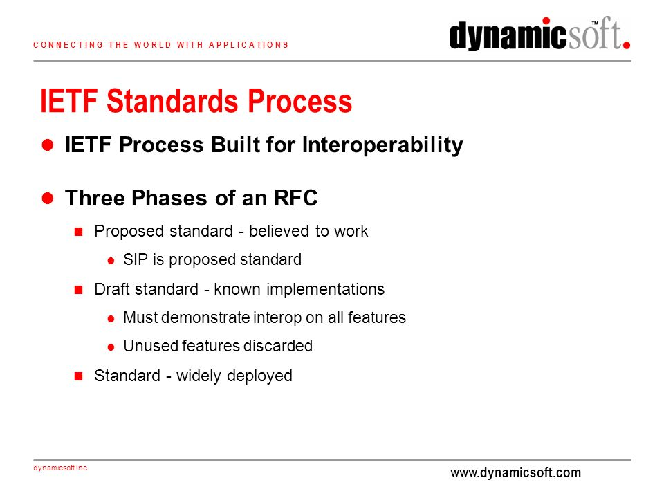 www.dynamicsoft.com dynamicsoft Inc. C O N N E C T I N G T H E W O R L D W I T H A P P L I C A T I O N S IETF Standards Process IETF Process Built for
