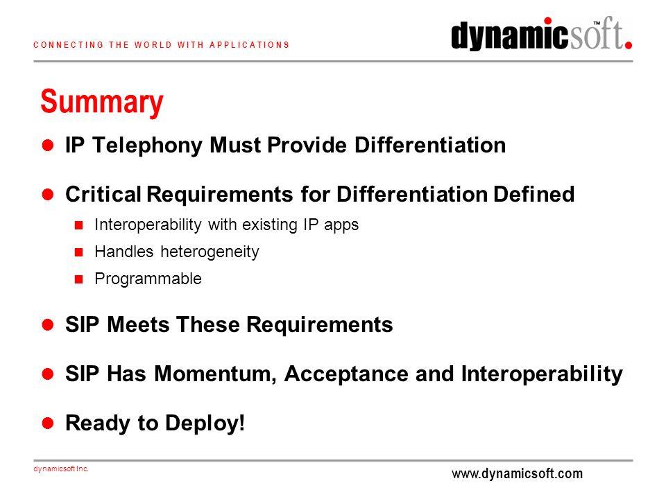 www.dynamicsoft.com dynamicsoft Inc. C O N N E C T I N G T H E W O R L D W I T H A P P L I C A T I O N S Summary IP Telephony Must Provide Differentia