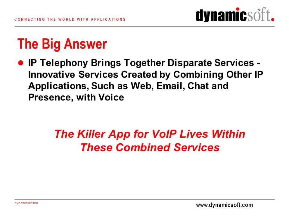 www.dynamicsoft.com dynamicsoft Inc. C O N N E C T I N G T H E W O R L D W I T H A P P L I C A T I O N S The Big Answer IP Telephony Brings Together D