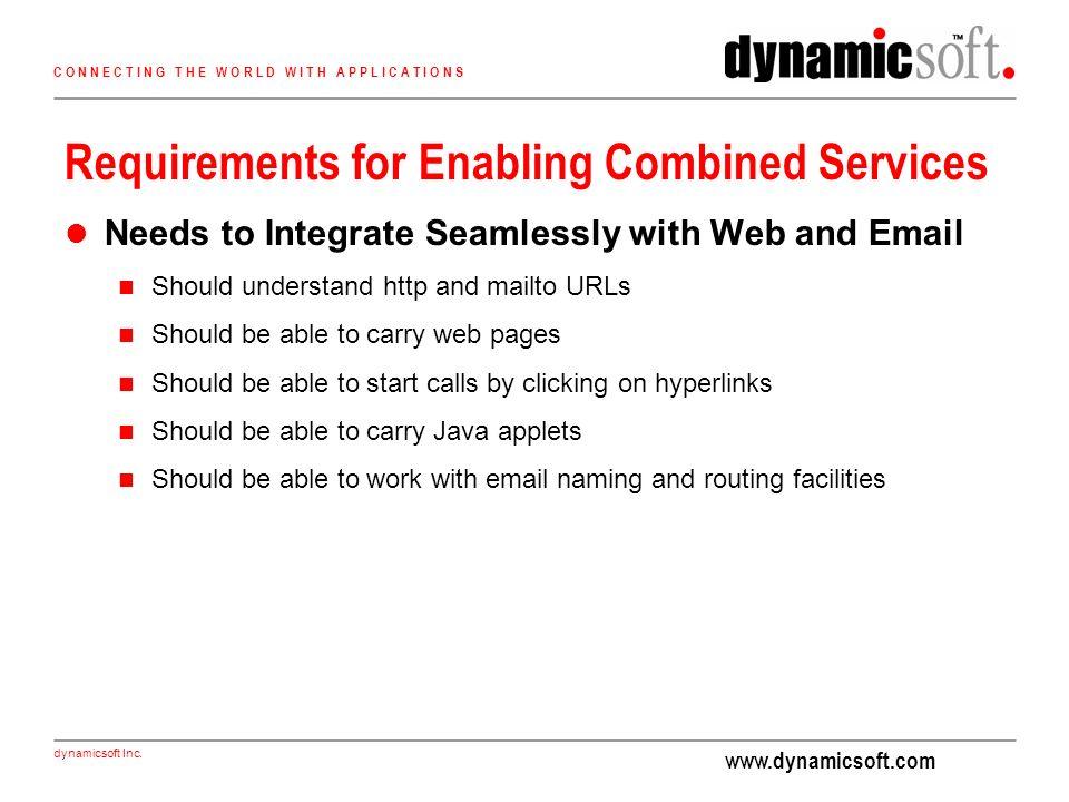 www.dynamicsoft.com dynamicsoft Inc. C O N N E C T I N G T H E W O R L D W I T H A P P L I C A T I O N S Requirements for Enabling Combined Services N
