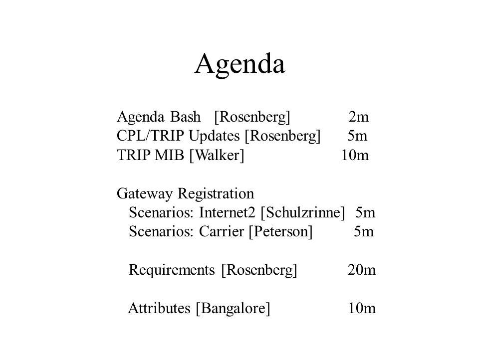 Agenda Agenda Bash [Rosenberg] 2m CPL/TRIP Updates [Rosenberg] 5m TRIP MIB [Walker] 10m Gateway Registration Scenarios: Internet2 [Schulzrinne] 5m Scenarios: Carrier [Peterson] 5m Requirements [Rosenberg] 20m Attributes [Bangalore] 10m