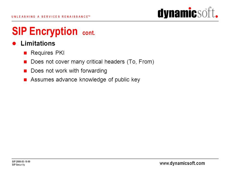 www.dynamicsoft.com U N L E A S H I N G A S E R V I C E S R E N A I S S A N C E SIP 2000-05-10-00 SIP Security SIP Encryption cont.