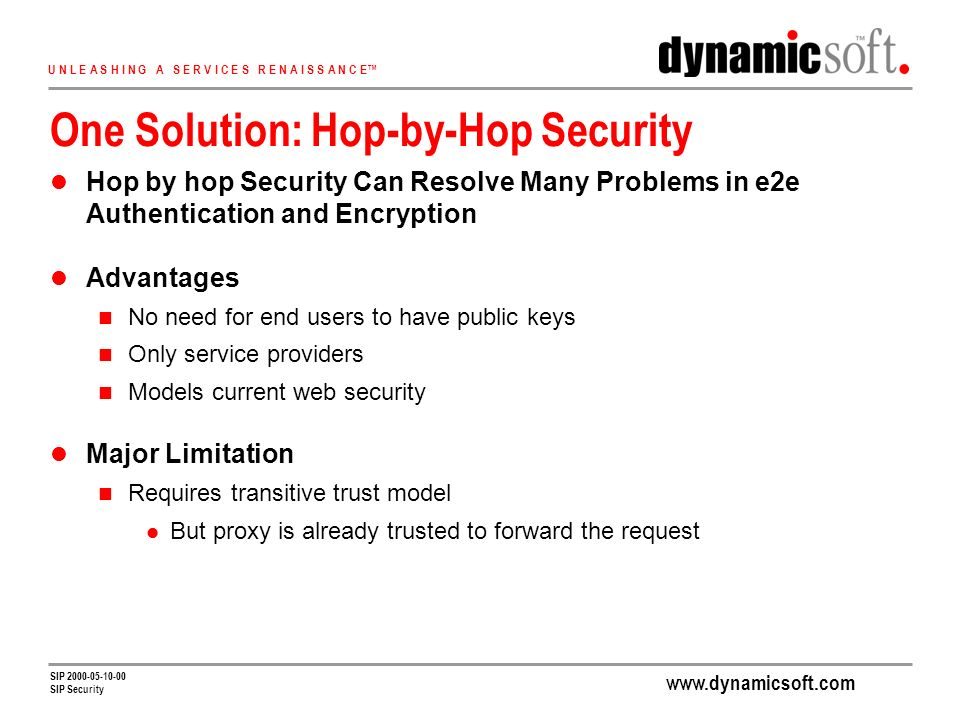 www.dynamicsoft.com U N L E A S H I N G A S E R V I C E S R E N A I S S A N C E SIP 2000-05-10-00 SIP Security One Solution: Hop-by-Hop Security Hop by hop Security Can Resolve Many Problems in e2e Authentication and Encryption Advantages No need for end users to have public keys Only service providers Models current web security Major Limitation Requires transitive trust model But proxy is already trusted to forward the request