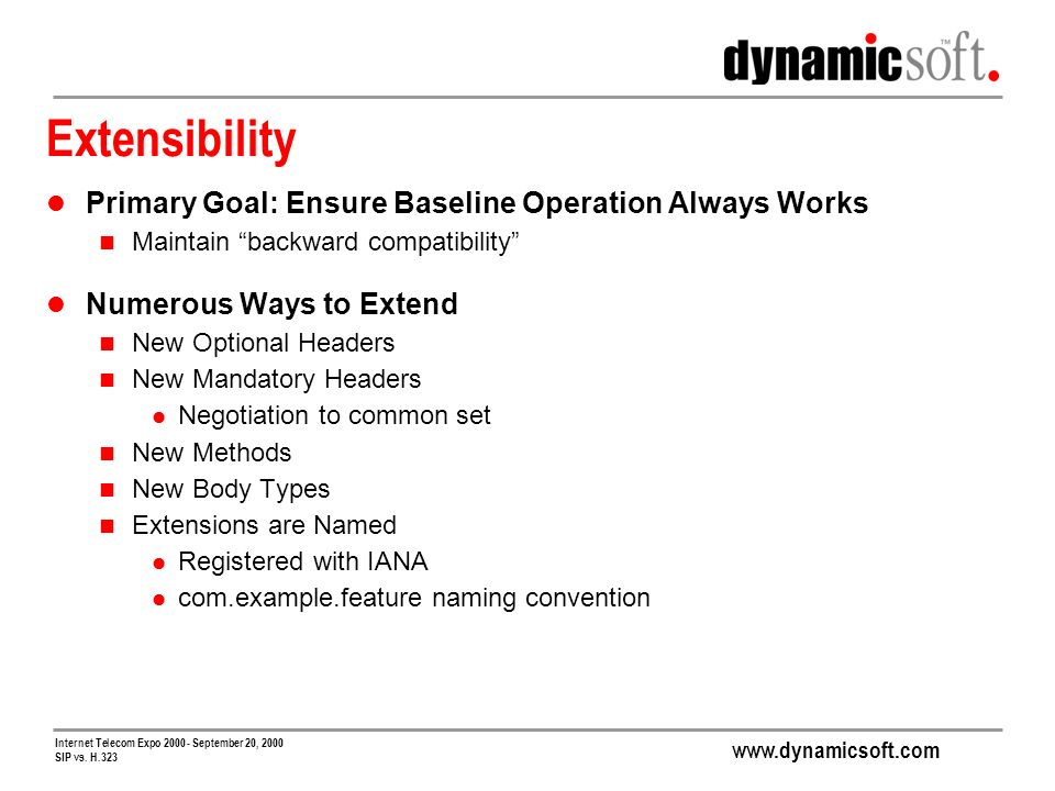 www.dynamicsoft.com Internet Telecom Expo 2000 - September 20, 2000 SIP vs. H.323 Extensibility Primary Goal: Ensure Baseline Operation Always Works M