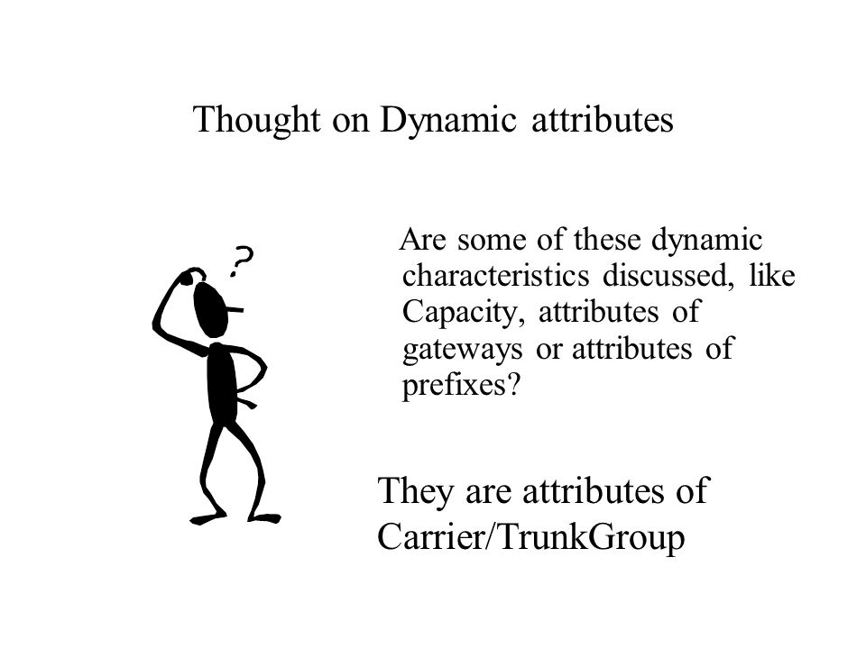 Thought on Dynamic attributes Are some of these dynamic characteristics discussed, like Capacity, attributes of gateways or attributes of prefixes? Th