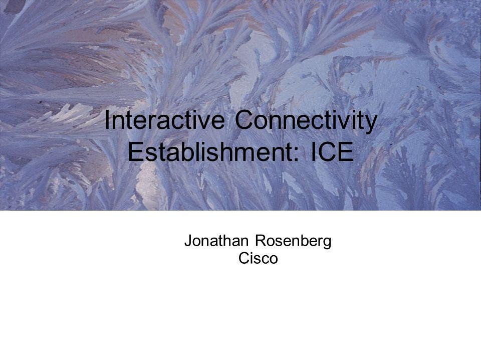 Jonathan Rosenberg Cisco Interactive Connectivity Establishment: ICE
