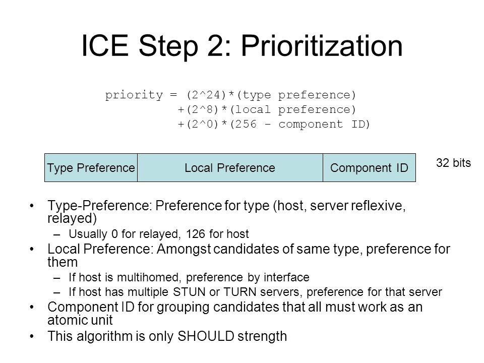 ICE Step 2: Prioritization Type-Preference: Preference for type (host, server reflexive, relayed) –Usually 0 for relayed, 126 for host Local Preferenc