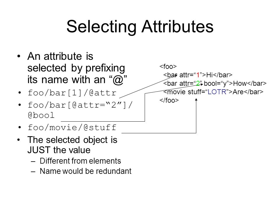 Selecting Attributes An attribute is selected by prefixing its name with an @ foo/bar[1]/@attr foo/bar[@attr=2]/ @bool foo/movie/@stuff The selected o