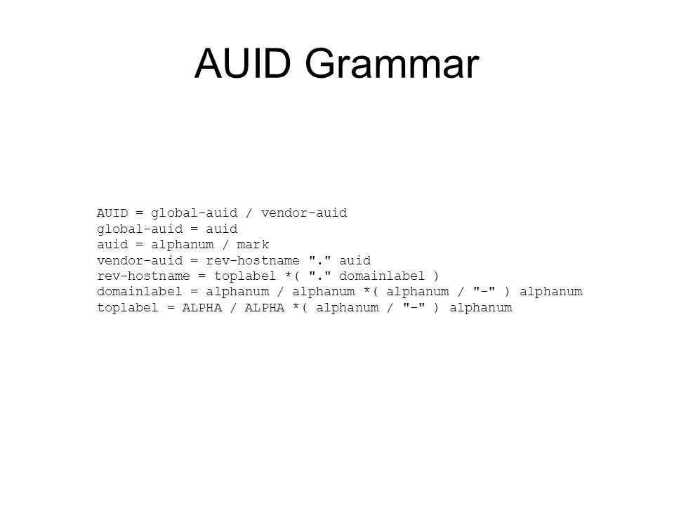 AUID Grammar AUID = global-auid / vendor-auid global-auid = auid auid = alphanum / mark vendor-auid = rev-hostname . auid rev-hostname = toplabel *( . domainlabel ) domainlabel = alphanum / alphanum *( alphanum / - ) alphanum toplabel = ALPHA / ALPHA *( alphanum / - ) alphanum