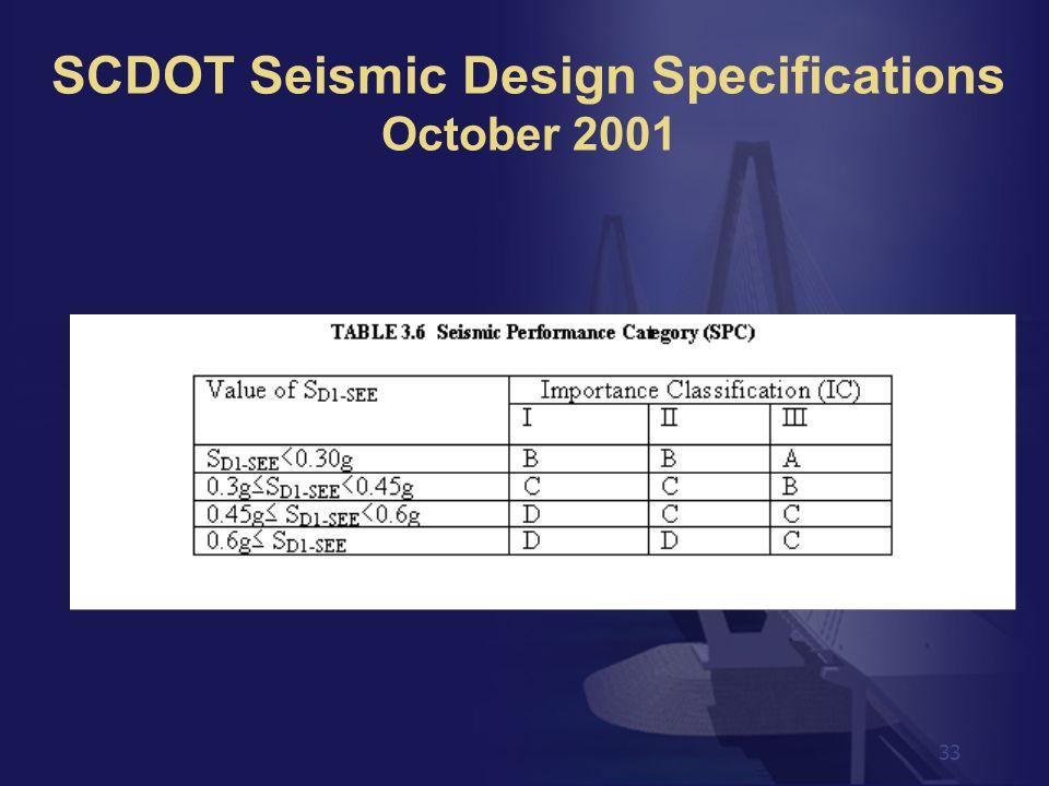 33 SCDOT Seismic Design Specifications October 2001