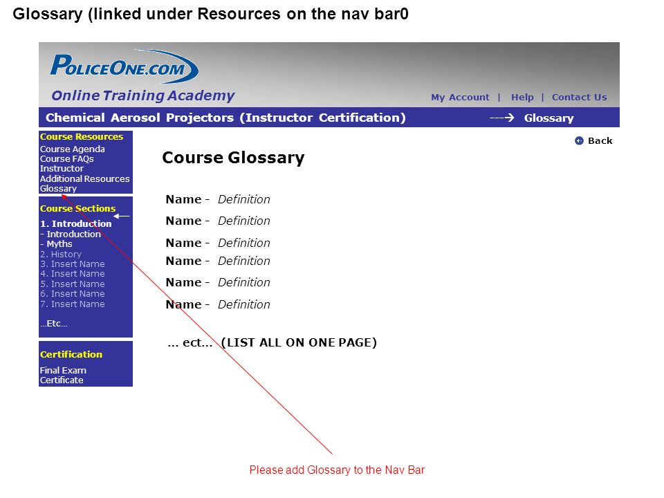 Glossary (linked under Resources on the nav bar0 Chemical Aerosol Projectors (Instructor Certification) --- Glossary Back Course Resources Course Agenda Course FAQs Instructor Additional Resources Glossary Course Sections 1.