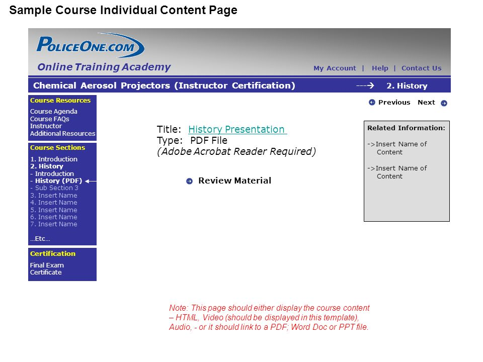 Sample Course Individual Content Page Chemical Aerosol Projectors (Instructor Certification) --- 2.