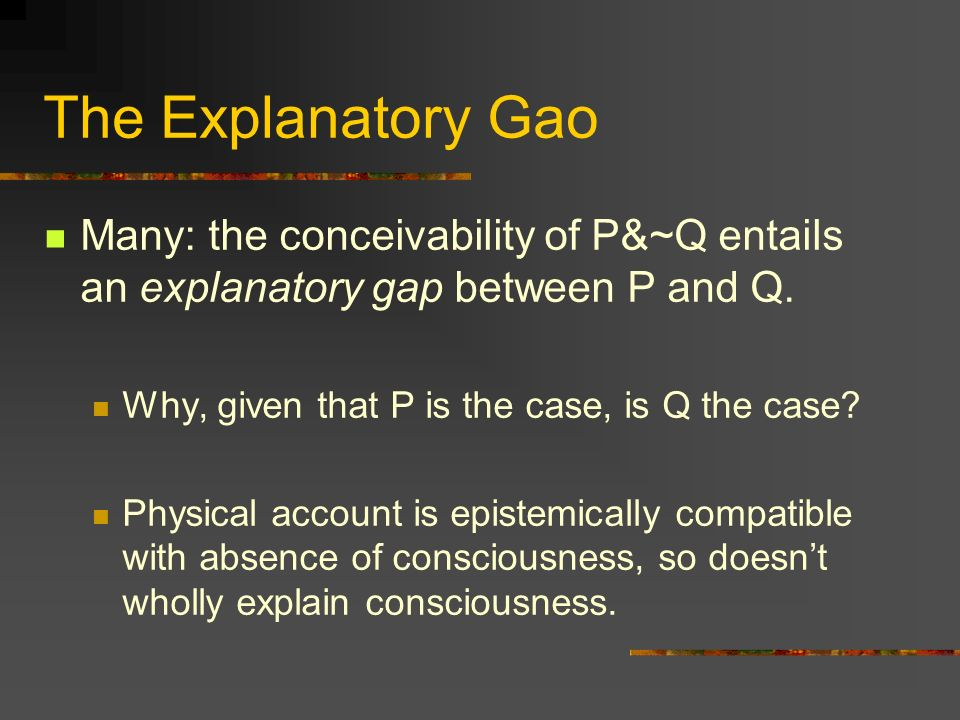 Argument for Second Horn (5) If P&~C is not conceivable, then zombies satisfy C.