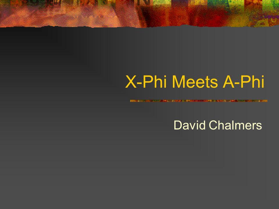 X-Phi Meets A-Phi David Chalmers