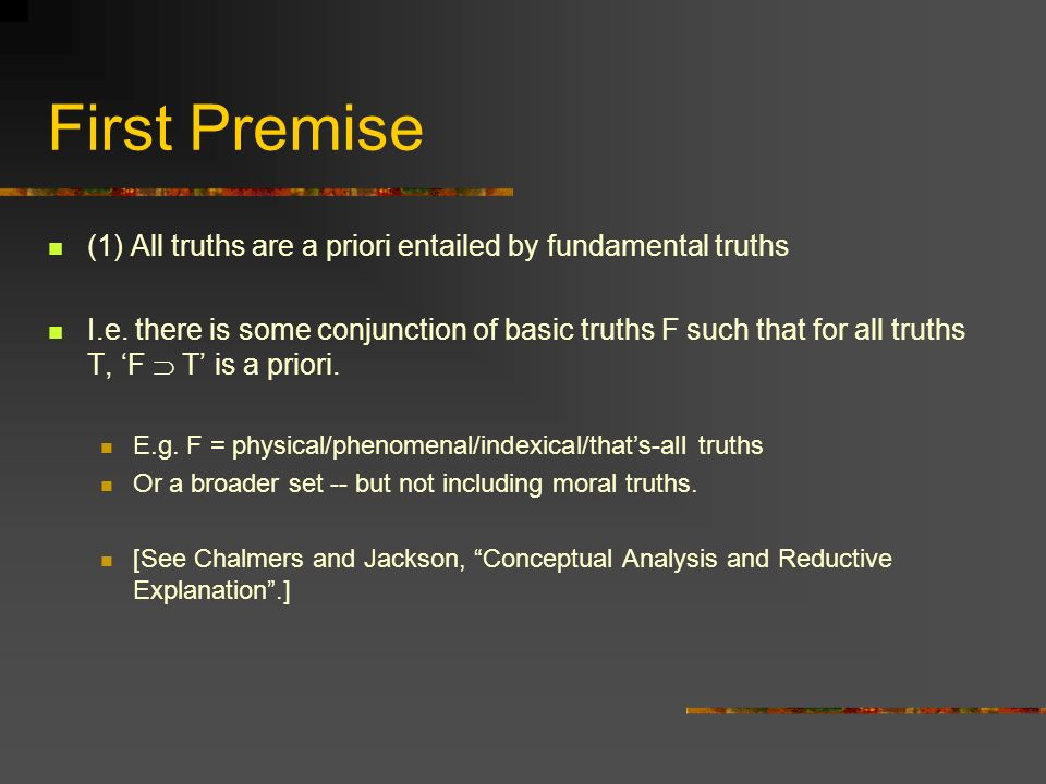 Truth and Apriority What about the link between truth and apriority.
