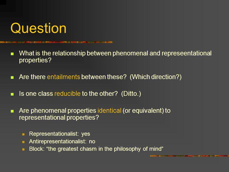 Entailment I Do pure representational properties entail phenomenal properties.