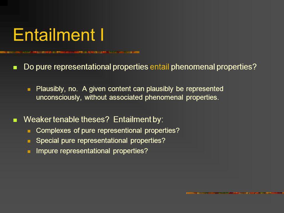 Entailment II Do phenomenal properties entail pure representational properties.