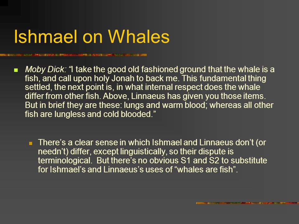 Ishmael on Whales Moby Dick: I take the good old fashioned ground that the whale is a fish, and call upon holy Jonah to back me.