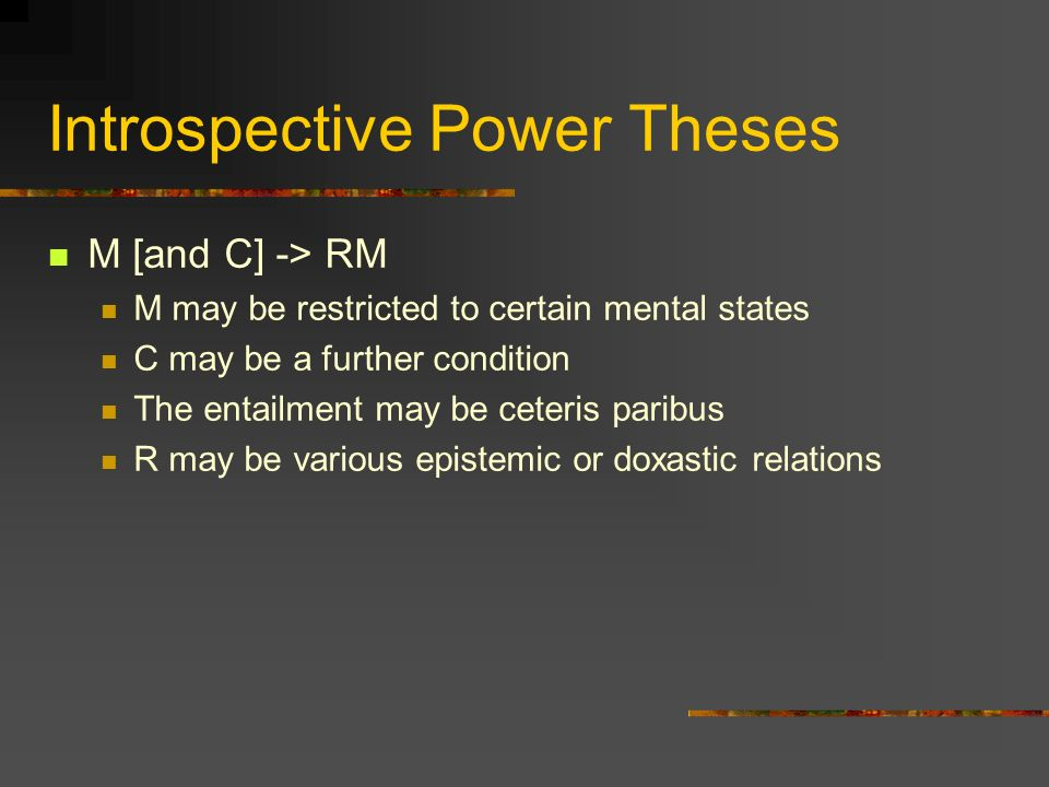 Explanation of Introspection Q: How do we explain introspective power.