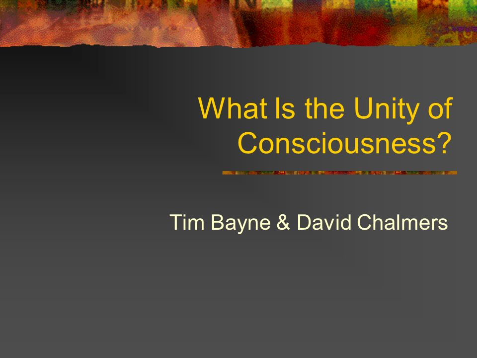 What Is the Unity of Consciousness Tim Bayne & David Chalmers