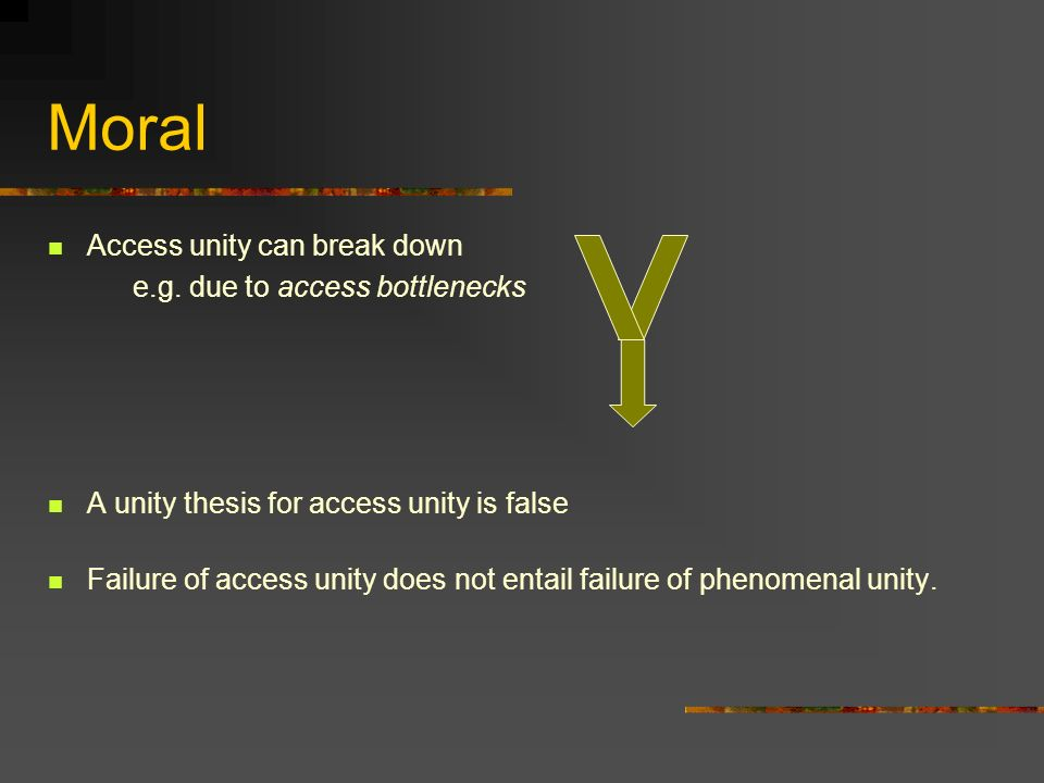 Moral Access unity can break down e.g.